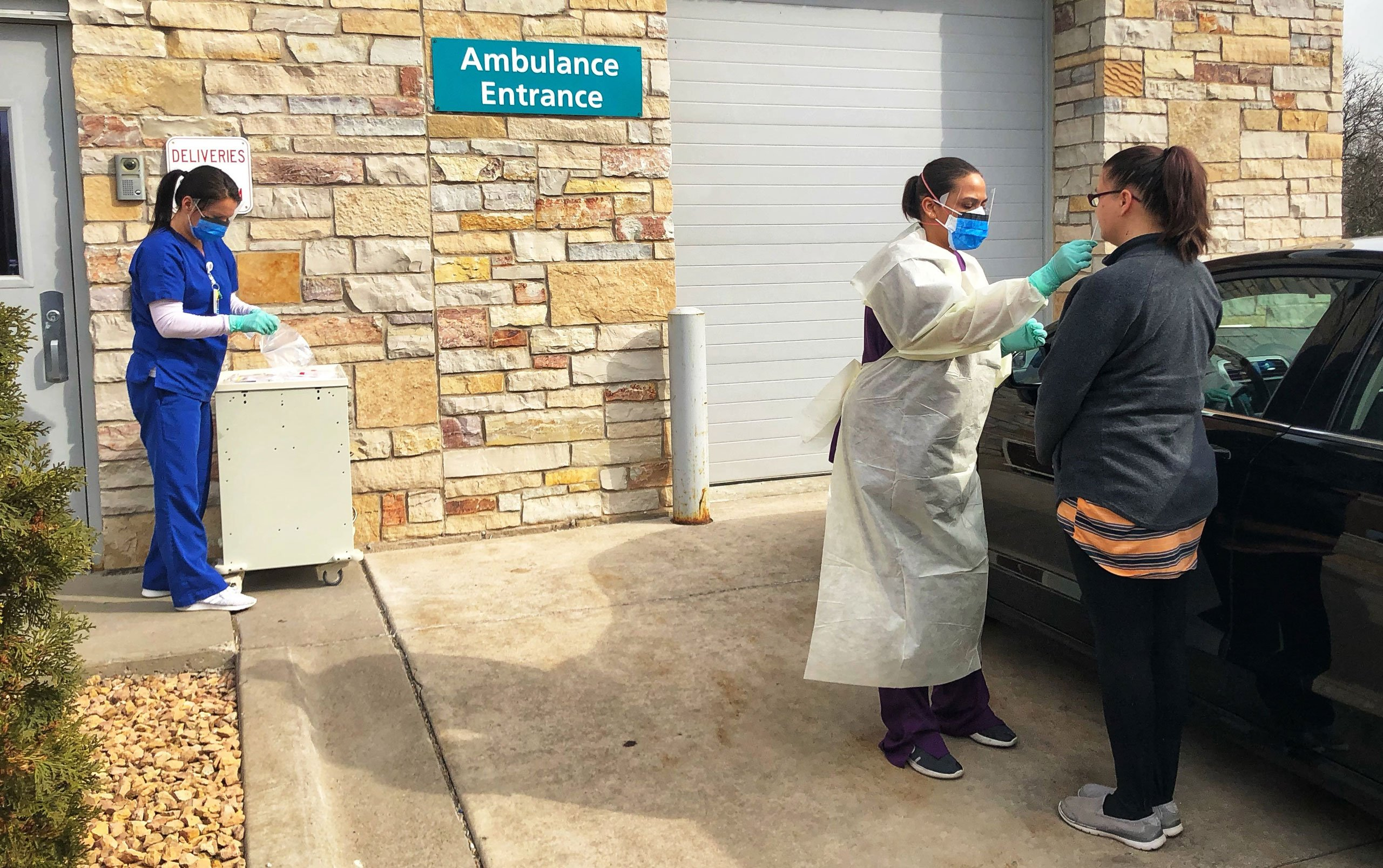 Drive Through Coronavirus Testing Launched By Hospitals In Parking Lots Garages