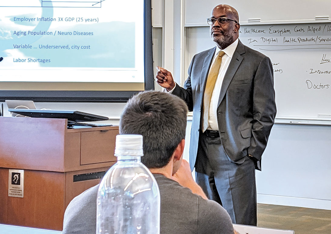 Tyson delivers an executive lecture on leadership to business students at the Stanford University Graduate School of Business.