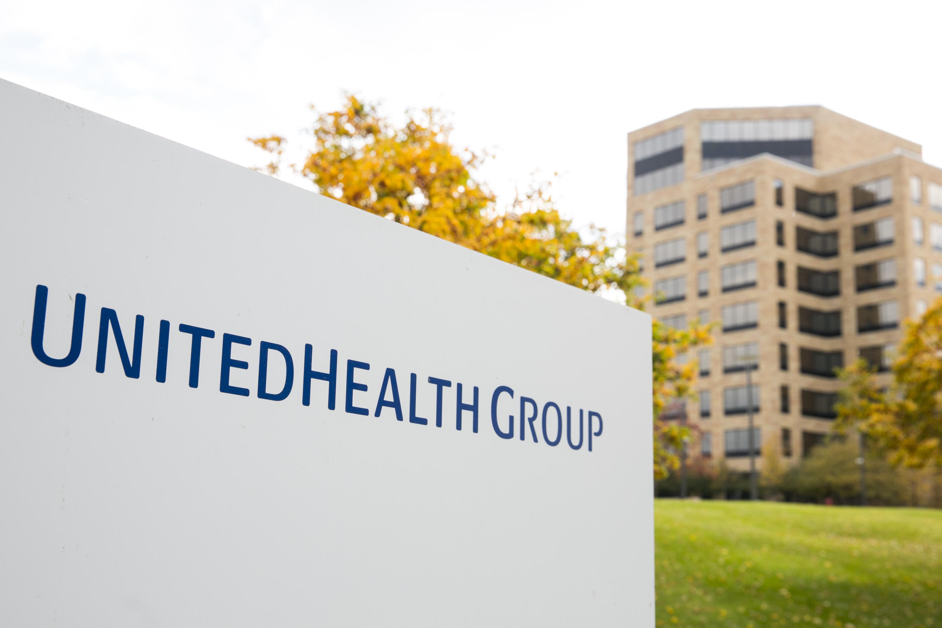 A logo sign outside of the headquarters of UnitedHealth Group in Minnetonka, Minnesota.