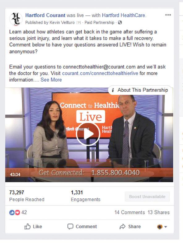 Hartford HealthCare Facebook Live event