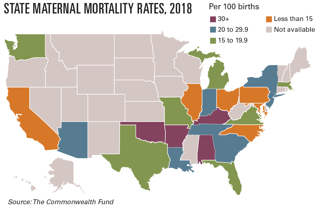 State maternal mortality rates, 2018