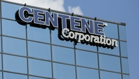 A logo sign outside of a facility occupied by the Centene Corporation in St. Louis, Missouri.