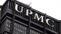This is the UPMC logo on the UPMC Building in downtown Pittsburgh.