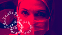 Close-up of a healthcare worker wearing a mask.