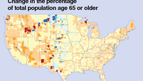 Change in the percentage of total population age 65 or older