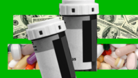 Pill bottles on a background of money.