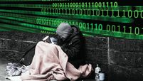 A homeless person sitting next to a wall with binary code overlayed over the image.