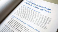 """A page in a pamphlet reading, """"Medicare Advantage plans & other options"""""""