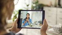 telehealth appointment ipad stock image