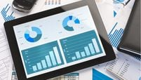 ipad with graphs stock image