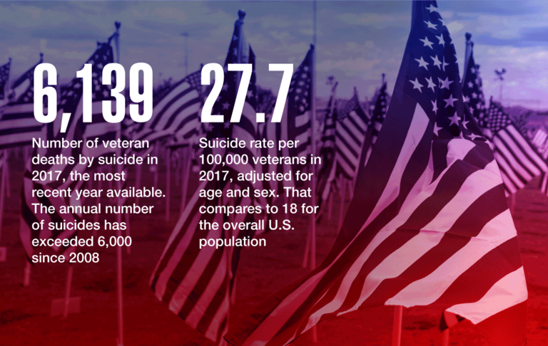 6,139: Number of veteran deaths by suicide in 2017, the most recent year available. The annual number of suicides has exceeded 6,000 since 2008. 27.7: Suicide rate per 100,000 veterans in 2017, adjusted for age and sex. That compares to 18 for the overall U.S. population.