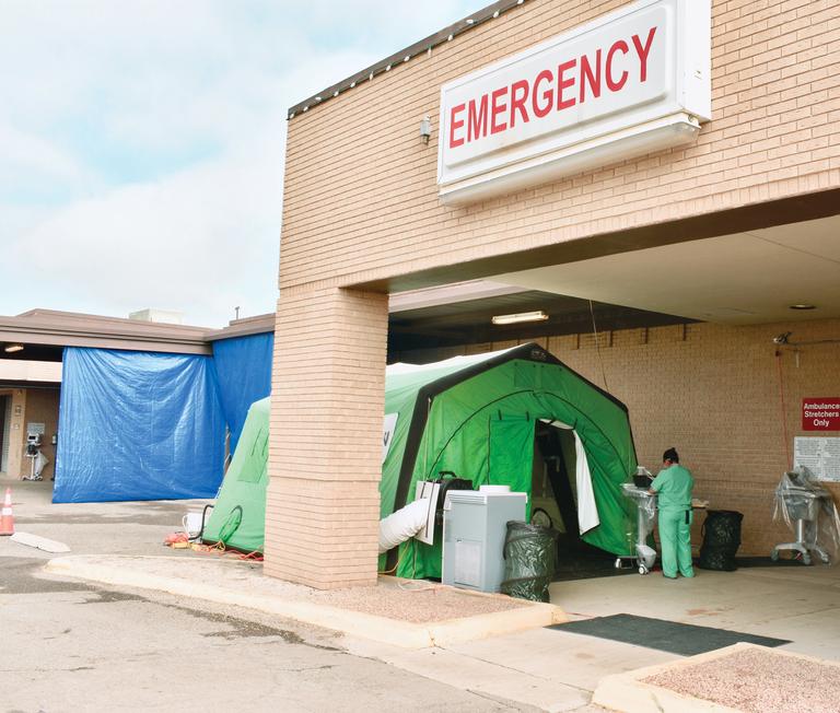Uvalde Memorial Hospital's drive-through testing station