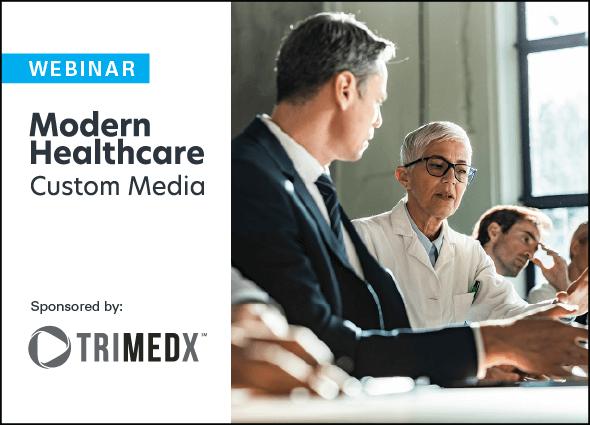 modern healthcare custom media and trimedx custom webinar logo lockup