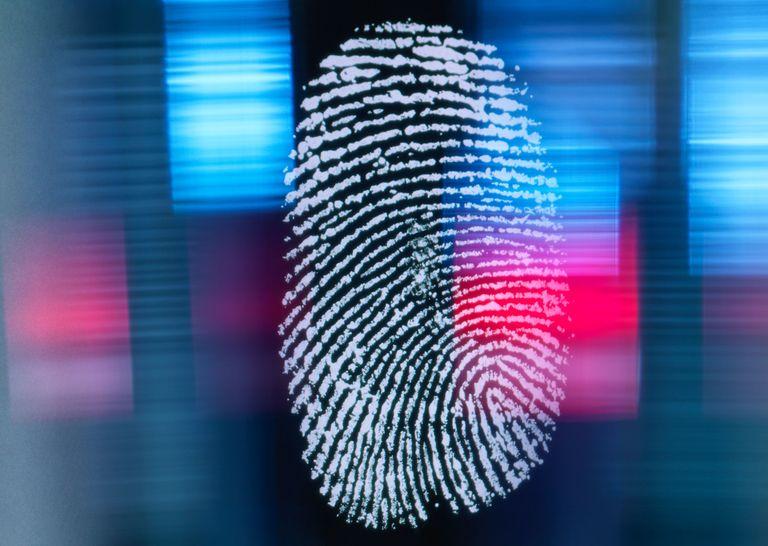 Fingerprint on multi-colored background.