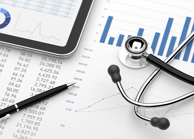 healthcare charts graph stock image