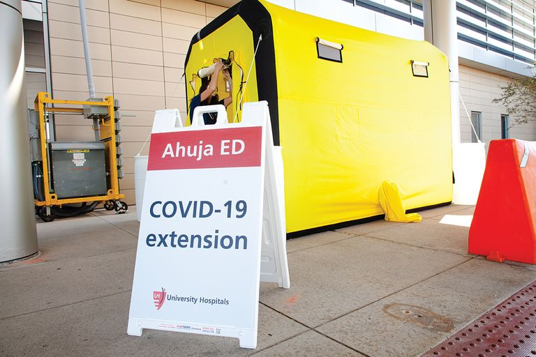 University Hospitals Ahuja Medical Center in Beachwood, Ohio, has set up tents outside its ED to offer COVID-19 testing.