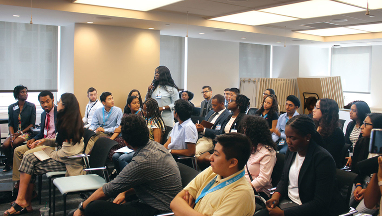 Interns attend a panel discussion at Mount Sinai's Icahn School of Medicine