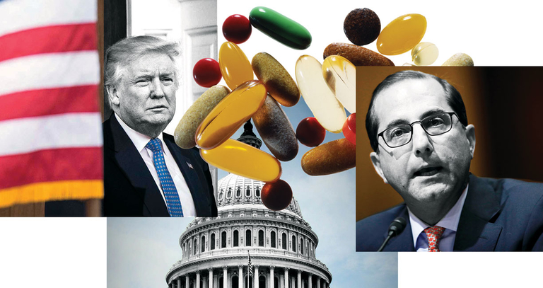 Photos of Donald Trump and Alex Azar with pills in front of the Capitol