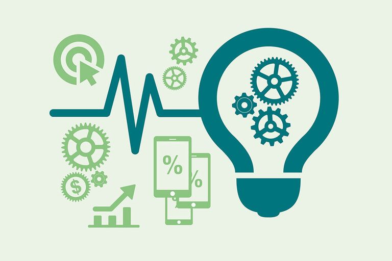 A graphic with a lightbulb, gears and smartphones.