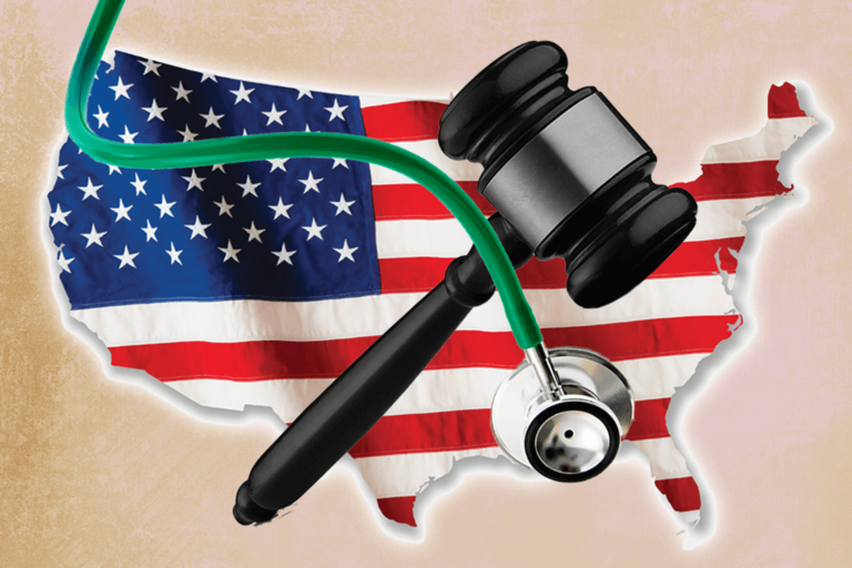Map of United States with stethoscope and gavel