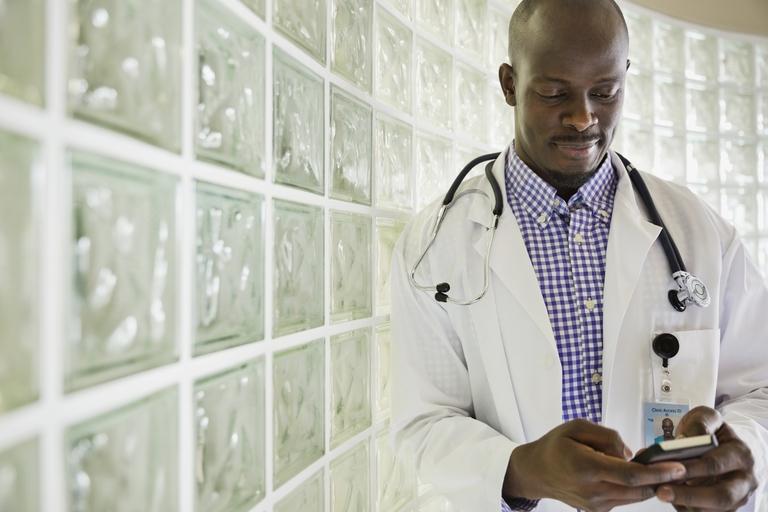 Doctor on smartphone