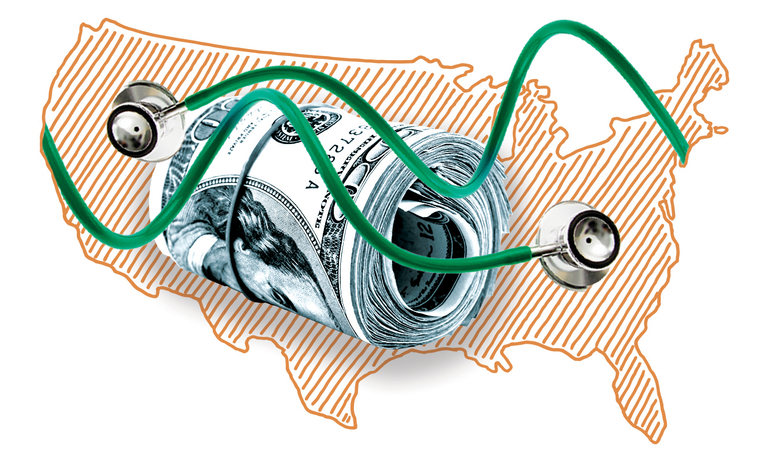 Map of United States with stethoscopes and money