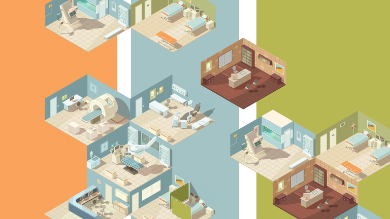 Hospital divided into multiple pieces