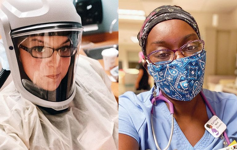 Two travel nurses wearing personal protective equipment.