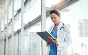 doctor looking at notes stock image