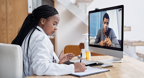 telehealth appointment stock image