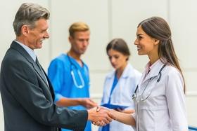 doctor handshake stock image