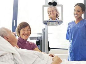 virtual telehealth woman in bed