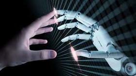 human hand robotic hand stock image