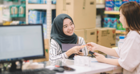 happy patient at pharmacy stock image