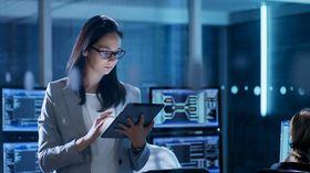 woman holding ipad technology stock image