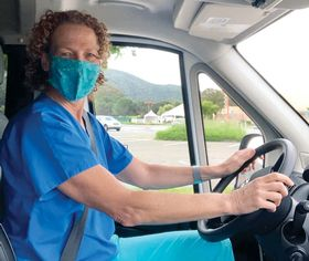 Dr. Elizabeth Lowe, an internal medicine physician at MarinHealth, drives the COVID-19 mobile testing unit to skilled-nursing and residential care facilities in Marin County, Calif.