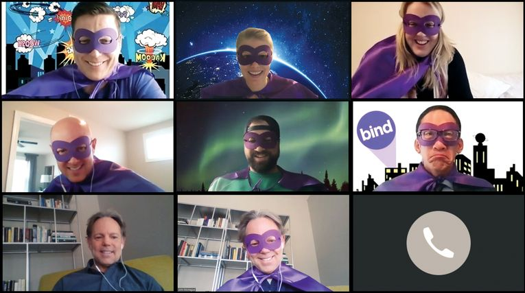 "Employees at health insurance startup Bind participate in a ""spirit week"" while working from home earlier this year."