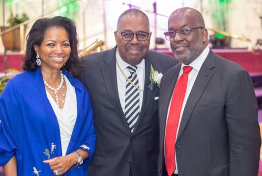 Bishop J.W. Macklin with Bernard J. Tyson and Denise Bradley-Tyson.
