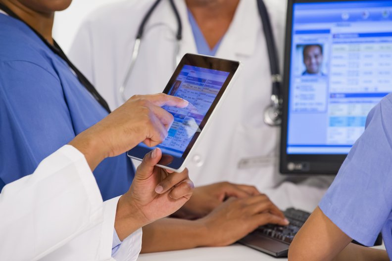 Doctor using EHR