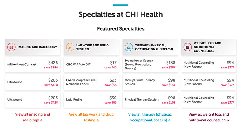 Specialties at CHI Health with prices on MDsave