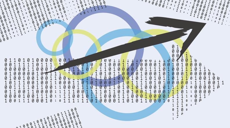 Arrows made of binary code.