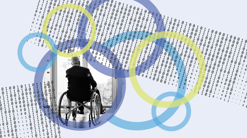 A graphic that includes a man in a wheelchair and images of binary code.