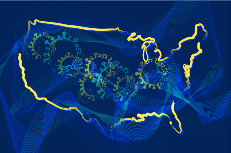 A map of the U.S. with images of the coronavirus.