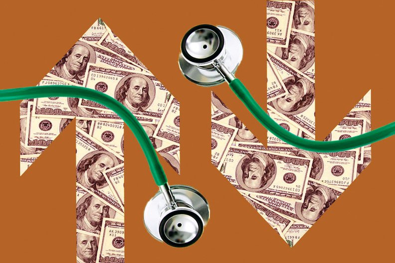 Stethoscope with arrows and money