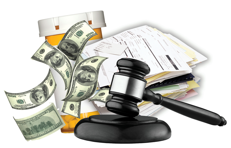 Drugs, medical bills and money with a gavel