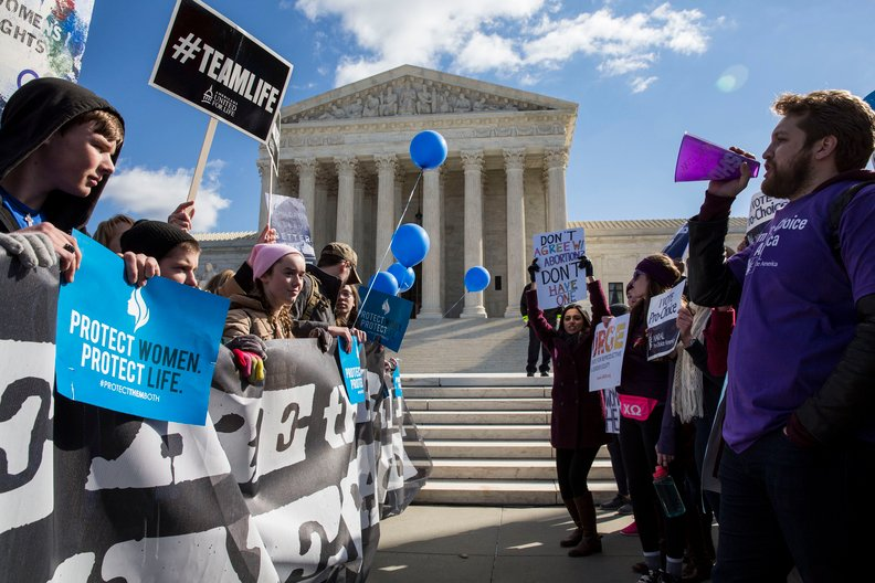 Abortion protest in front of Supreme Court