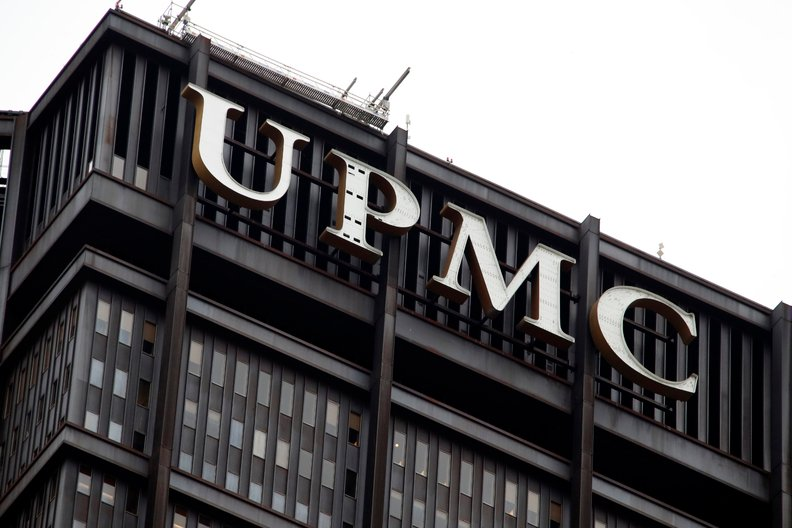 The UPMC logo on the UPMC Building in downtown Pittsburgh.