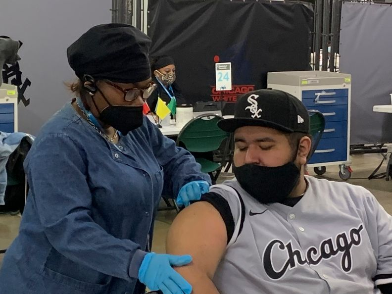 Cook County Health vaccination drive at a recent White Sox game.