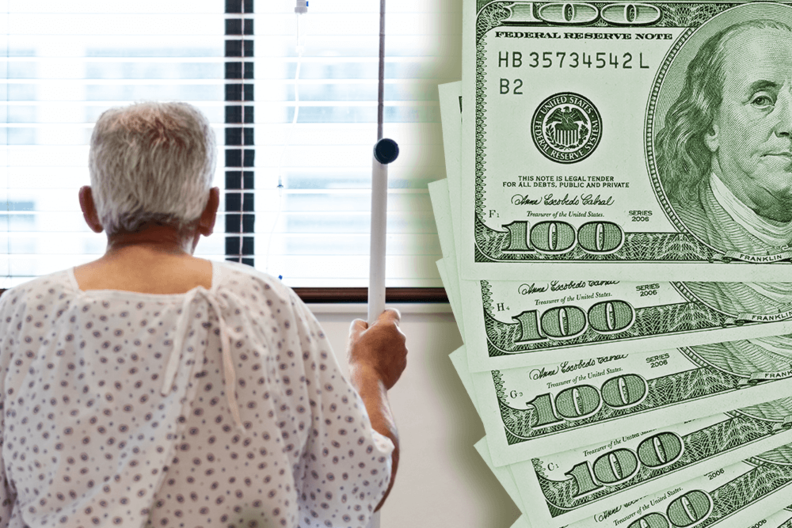 Patient in hospital with $100 bills