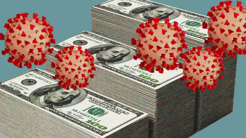 Money with images of the coronavirus